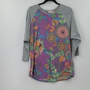"Lularoe ""randy"" gray and purple floral baseball t"